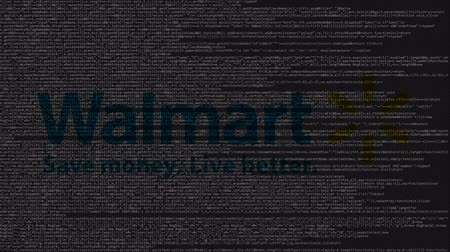 walmart : Walmart logo made of source code on computer screen. Editorial loopable animation