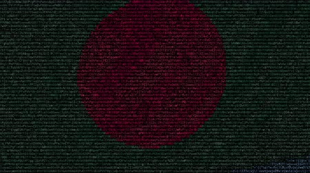 bengali : Waving flag of Bangladesh made of text symbols on a computer screen. Conceptual loopable animation