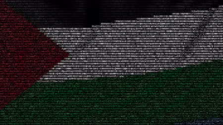palestina : Waving flag of Palestine made of text symbols on a computer screen. Conceptual loopable animation Stock Footage
