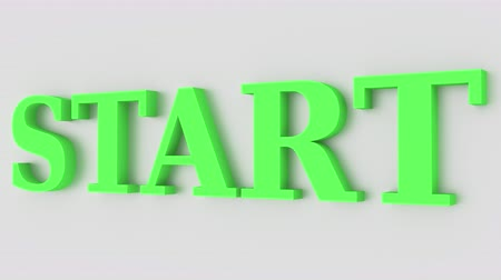 proceed : Green word START pops up from the wall. Conceptual 3D animation Stock Footage