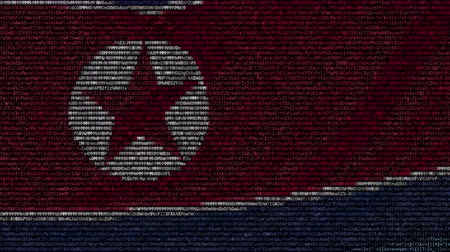 dprk : Waving flag of North Korea made of text symbols on a computer screen. Conceptual loopable animation