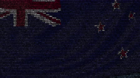 yeni zelanda : Waving flag of New Zeland made of text symbols on a computer screen. Conceptual loopable animation Stok Video