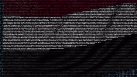 yemen : Waving flag of Yemen made of text symbols on a computer screen. Conceptual loopable animation