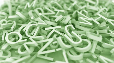betűrendes : Pile of green letters. Conceptual 3D animation