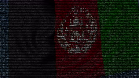 afghan : Waving flag of Afghanistan made of text symbols on a computer screen. Conceptual loopable animation