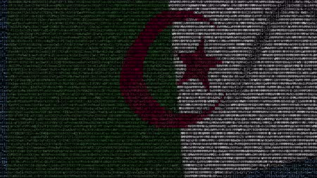 algeria : Waving flag of Algeria made of text symbols on a computer screen. Conceptual loopable animation