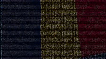 чад : Waving flag of Chad made of text symbols on a computer screen. Conceptual loopable animation Стоковые видеозаписи