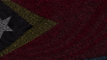 east timor : Waving flag of East Timor made of text symbols on a computer screen. Conceptual loopable animation