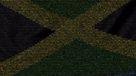 jamaica : Waving flag of Jamaica made of text symbols on a computer screen. Conceptual loopable animation Stock Footage