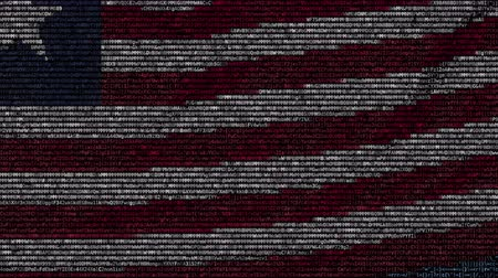 computer program : Waving flag of Liberia made of text symbols on a computer screen. Conceptual loopable animation Stock Footage