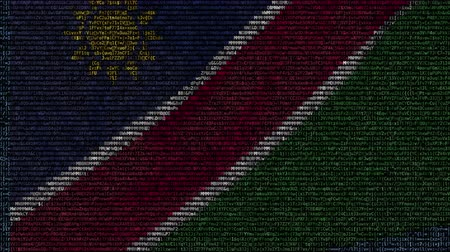 Намибия : Waving flag of Namibia made of text symbols on a computer screen. Conceptual loopable animation