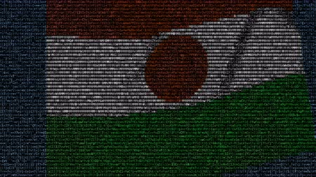 niger : Waving flag of Niger made of text symbols on a computer screen. Conceptual loopable animation
