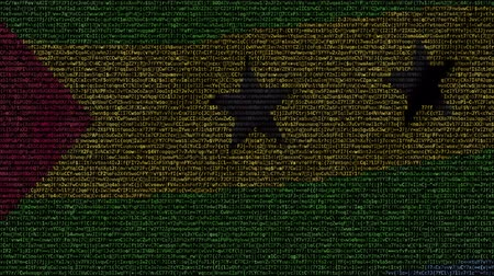 tome : Waving flag of Democratic Republic of Sao Tome and Principe made of text symbols on a computer screen. Conceptual loopable animation