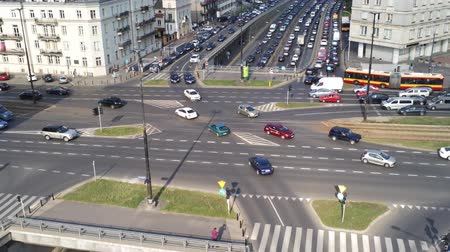 congested : WARSAW, POLAND - AUGUST 1, 2018. Aerial shot of rush hour traffic jam on major streets