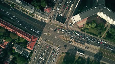 road tunnel : Aerial top down view time lapse of busy city intersection