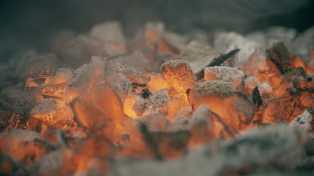 coals : Red hot coals or ember for barbecue, close-up shot Stock Footage