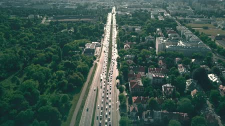 varsó : Aerial view of city highway in Warsaw, Poland Stock mozgókép