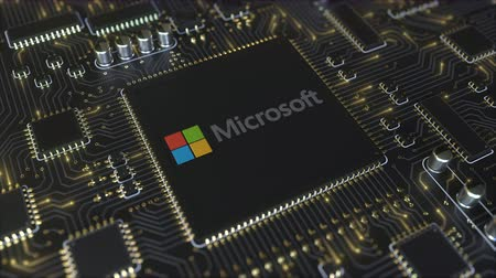 mikroprocesor : Computer printed circuit board or PCB with Microsoft Corporation logo. Conceptual editorial 3D animation