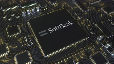 mikroprocesor : Computer printed circuit board or PCB with SoftBank Group logo. Conceptual editorial 3D animation