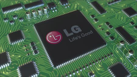 chipset : Computer printed circuit board or PCB with LG Corporation logo. Conceptual editorial 3D animation