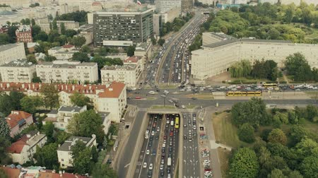 varšava : Rush hour traffic in Warsaw, Poland, aerial view