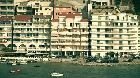 horeca : BUDVA, MONTENEGRO - JULY 26, 2018. Seafront hotels in Becici area Stock Footage
