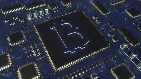 chipset : Operating chipset with bitcoin symbol. Mining related conceptual 3D animation