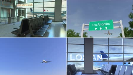 bilet : Trip to Los Angeles. Airplane arrives to the United States conceptual montage animation