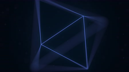 вершина : Blue Platonic solid octahedron rotating. Computer graphics related loopable motion background Стоковые видеозаписи