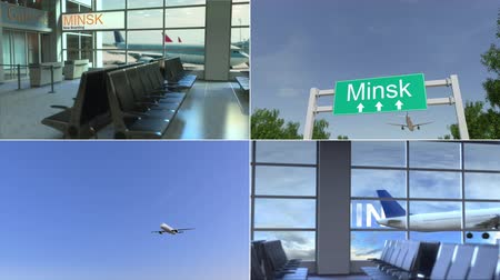 kolaż : Trip to Minsk. Airplane arrives to Belarus conceptual montage animation