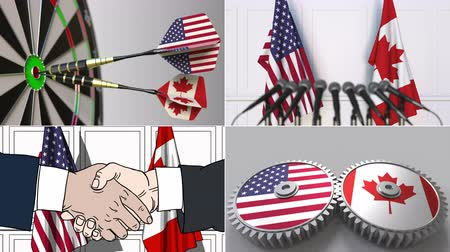 kanadský : United States and Canada cooperation. Conceptual animation montage