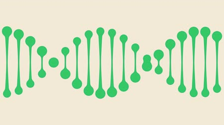 minimalista : Animated green DNA icon. Conceptual loopable minimalistic animation