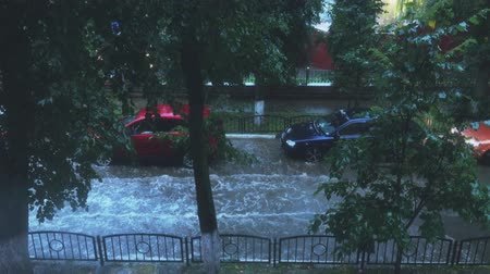 wetness : Car driving along flooded city street in heavy rain