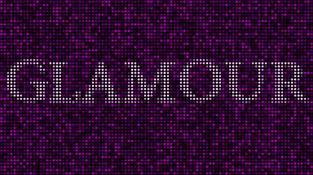 bod vzplanutí : Revealing word GLAMOUR among pink and purple blinking dots. Loopable animation