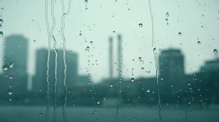 wetness : Raindrops roll down the window against blurred city