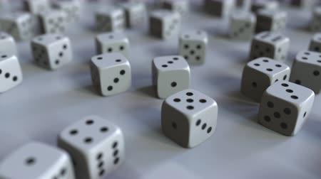рассеянный : Dice with Dollar sign among scattered gambling dices. Forex success or finance related 3D animation