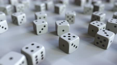 kości do gry : Dice with rupee sign among scattered gambling dices. Forex success or finance related 3D animation