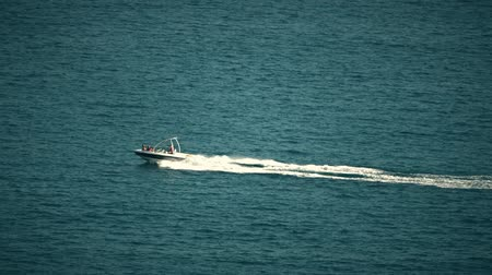 motorbot : High-speed motorboat moving at sea