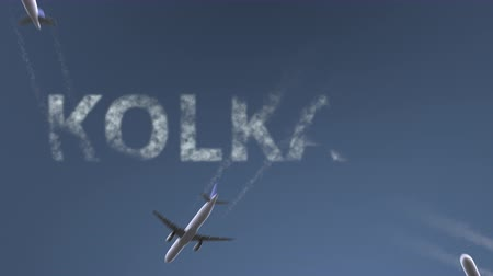 kolkata : Flying airplanes reveal Kolkata caption. Traveling to India conceptual intro animation