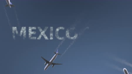 mexico city : Flying airplanes reveal Mexico City caption. Traveling to Mexico conceptual intro animation