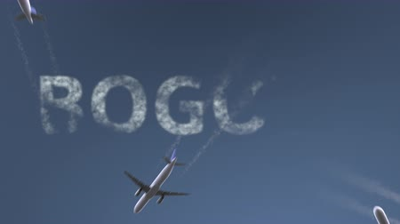 bogota : Flying airplanes reveal Bogota caption. Traveling to Colombia conceptual intro animation