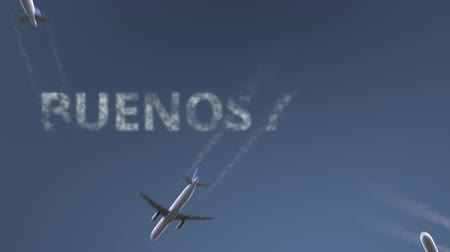 aires : Flying airplanes reveal Buenos Aires caption. Traveling to Argentina conceptual intro animation