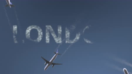 bretanha : Flying airplanes reveal London caption. Traveling to the United Kingdom conceptual intro animation