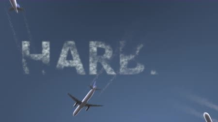 harbin : Flying airplanes reveal Harbin caption. Traveling to China conceptual intro animation