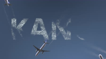 horário : Flying airplanes reveal Kano caption. Traveling to Nigeria conceptual intro animation