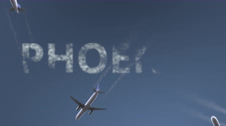 феникс : Flying airplanes reveal Phoenix caption. Traveling to the United States conceptual intro animation