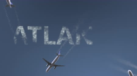 atlanta : Flying airplanes reveal Atlanta caption. Traveling to the United States conceptual intro animation