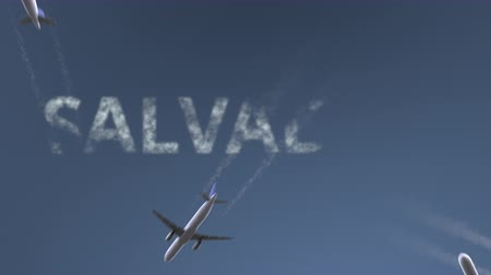 brezilya : Flying airplanes reveal Salvador caption. Traveling to Brazil conceptual intro animation