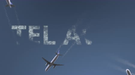 horário : Flying airplanes reveal Tel Aviv caption. Traveling to Israel conceptual intro animation