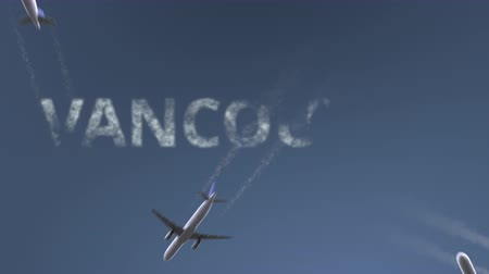 Ванкувер : Flying airplanes reveal Vancouver caption. Traveling to Canada conceptual intro animation